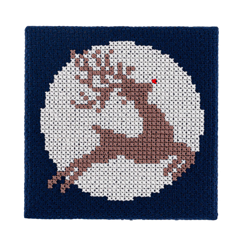 Mini Glow in the Dark Reindeer Cross Stitch Kit | STITCHFINITY