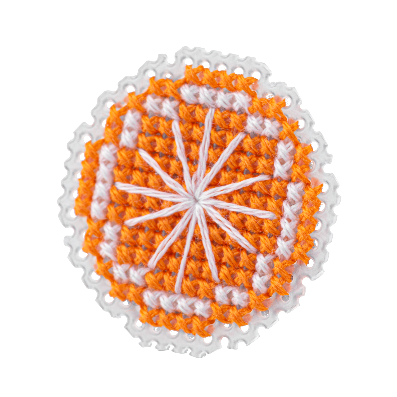 Orange Brooch Cross Stitch Kit | STITCHFINITY