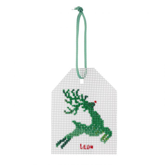 Reindeer Gift Tag Cross Stitch Kit | STITCHFINITY