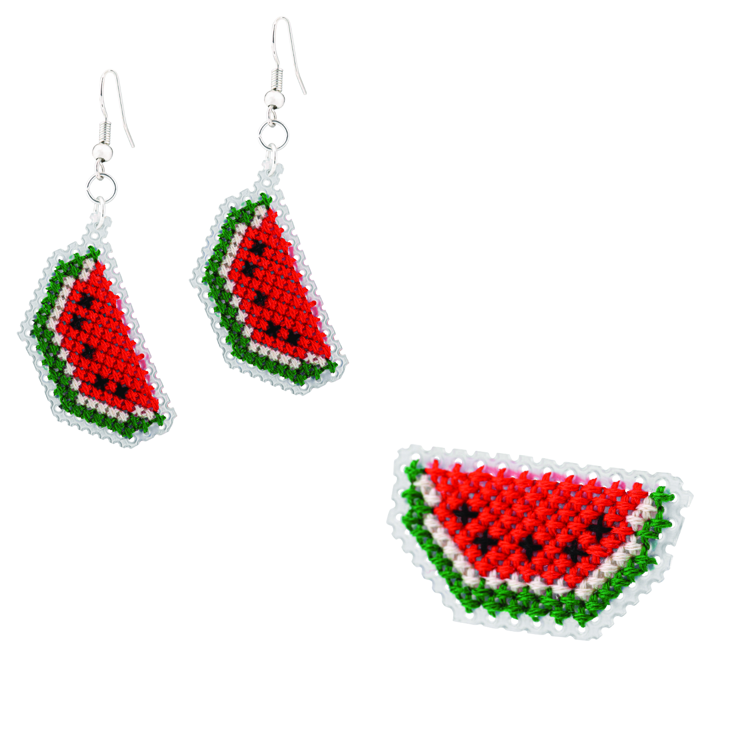 Watermelon Brooch and Earrings Cross Stitch Kit | STITCHFINITY